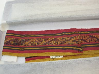 Chimú. <em>Textile Fragment, undetermined, possible border</em>, 1000-1532. Cotton, camelid fiber, 79 15/16 x 4 5/16in. (203 x 11cm). Brooklyn Museum, Gift of Jack Lenor Larsen, 63.81.4. Creative Commons-BY (Photo: Brooklyn Museum, CUR.63.81.4_view2.jpg)