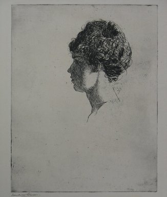 Frank Weston Benson (American, 1862-1951). <em>Profile Head</em>, 1914. Etching on laid paper, Sheet: 12 11/16 x 10 1/8 in. (32.2 x 25.7 cm). Brooklyn Museum, Gift of The Louis E. Stern Foundation, Inc., 64.101.18 (Photo: Brooklyn Museum, CUR.64.101.18.jpg)