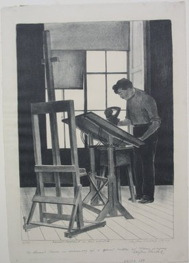 Stefan Hirsch (American, born Germany, 1899-1964). <em>Robert Laurent in His Studio</em>, 1929. Lithograph on paper, Sheet: 15 7/8 x 11 3/16 in. (40.3 x 28.4 cm). Brooklyn Museum, Gift of The Louis E. Stern Foundation, Inc., 64.101.189. © artist or artist's estate (Photo: Brooklyn Museum, CUR.64.101.189.jpg)