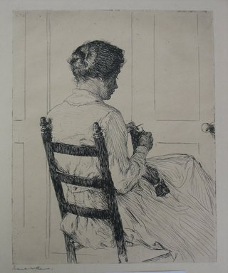 Frank Weston Benson (American, 1862-1951). <em>Elizabeth</em>, 1918. Etching on cream-colored wove paper, Sheet: 13 15/16 x 11 in. (35.4 x 27.9 cm). Brooklyn Museum, Gift of The Louis E. Stern Foundation, Inc., 64.101.19 (Photo: Brooklyn Museum, CUR.64.101.19.jpg)