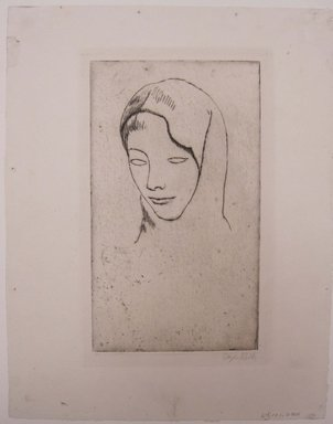 Kenneth Hayes Miller (American, 1876-1954). <em>Head</em>. Etching on paper, folder: 19 5/16 x 14 3/8 in. (49 x 36.5 cm). Brooklyn Museum, Gift of The Louis E. Stern Foundation, Inc., 64.101.280 (Photo: Brooklyn Museum, CUR.64.101.280.jpg)