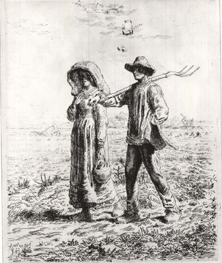 Jean-François Millet (French, 1814-1875). <em>Le Départ Pour Le Travail</em>, 1863. Etching on Japan paper, 15 3/16 x 12 3/16 in. (38.5 x 31 cm). Brooklyn Museum, Gift of The Louis E. Stern Foundation, Inc., 64.101.281 (Photo: Brooklyn Museum, CUR.64.101.281.jpg)