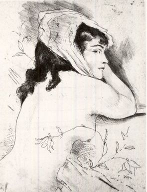 Emil Orlik (Austrian, 1870-1932). <em>Small Nude with Flowers</em>. Etching and roulette on laid paper, 3 1/2 x 2 1/2 in. (8.9 x 6.4 cm). Brooklyn Museum, Gift of The Louis E. Stern Foundation, Inc., 64.101.290 (Photo: Brooklyn Museum, CUR.64.101.290.jpg)
