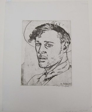 Maxwell Simpson (American, born 1896). <em>Self Portrait</em>, 1921. Etching on white wove paper, image: 8 3/8 x 6 5/16 in. (21.2 x 16 cm). Brooklyn Museum, Gift of The Louis E. Stern Foundation, Inc., 64.101.319 (Photo: Brooklyn Museum, CUR.64.101.319.jpg)