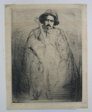 James Abbott McNeill Whistler (American, 1834-1903). <em>Portrait of Becquet</em>. Etching on tissue paper, Image: 9 7/8 x 7 9/16 in. (25.1 x 19.2 cm). Brooklyn Museum, Gift of The Louis E. Stern Foundation, Inc., 64.101.335 (Photo: Brooklyn Museum, CUR.64.101.335.jpg)