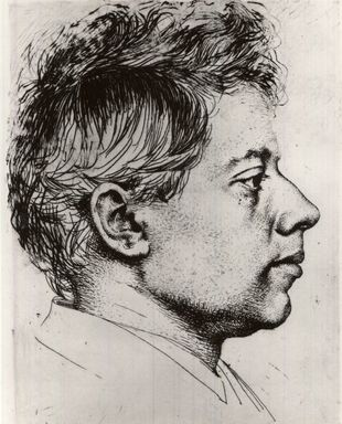 Karl Stauffer-Bern (Swiss, 1857-1891). <em>Portrait of Peter Halm</em>. Etching on laid paper, 7 11/16 x 5 3/4 in. (19.6 x 14.6 cm). Brooklyn Museum, Gift of The Louis E. Stern Foundation, Inc., 64.101.346 (Photo: Brooklyn Museum, CUR.64.101.346.jpg)