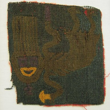 Paracas Necropolis. <em>Textile Fragment, Unascertainable or possible Skirt, Fragment</em>, 200-600 C.E. Camelid fiber, 3 1/2 × 3 1/8 in. (8.9 × 7.9 cm). Brooklyn Museum, Gift of Adelaide Goan, 64.114.150 (Photo: Brooklyn Museum, CUR.64.114.150.jpg)