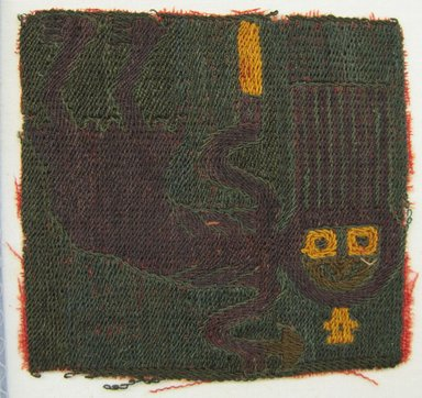 Paracas Necropolis. <em>Textile Fragment, Unascertainable or Skirt?, Fragment</em>, 200-600 C.E. Camelid fiber, 3 9/16 × 3 1/2 in. (9 × 8.9 cm). Brooklyn Museum, Gift of Adelaide Goan, 64.114.151 (Photo: Brooklyn Museum, CUR.64.114.151.jpg)
