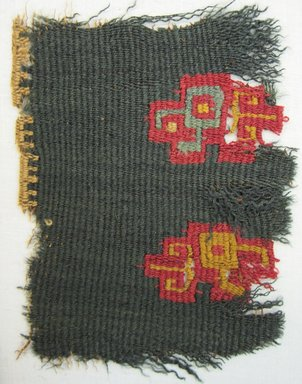Nazca-Wari. <em>Textile Fragment, undetermined</em>, 200-1000. Cotton, camelid fiber, 3 15/16 × 3 1/8 in. (10 × 7.9 cm). Brooklyn Museum, Gift of Adelaide Goan, 64.114.157 (Photo: Brooklyn Museum, CUR.64.114.157.jpg)