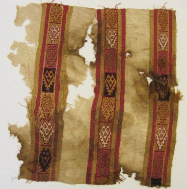 Chimú. <em>Textile Fragment, undetermined</em>, 1000-1532. Cotton, camelid fiber, 15 1/16 × 15 11/16 in. (38.3 × 39.8 cm). Brooklyn Museum, Gift of Adelaide Goan, 64.114.174 (Photo: , CUR.64.114.174.jpg)