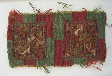 Inca/Moquegua. <em>Textile Fragment, unascertainable or Mantle, Fragment</em>, 1400-1532. Camelid fiber, 2 1/2 × 4 3/4 in. (6.4 × 12.1 cm). Brooklyn Museum, Gift of Adelaide Goan, 64.114.176 (Photo: Brooklyn Museum, CUR.64.114.176.jpg)