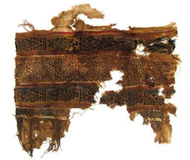 Chimú. <em>Loincloth?, Fragment or Textile Fragment, Undetermined</em>, 1000-1400. Cotton, camelid fiber, 12 × 12 3/4 in. (30.5 × 32.4 cm). Brooklyn Museum, Gift of Adelaide Goan, 64.114.183 (Photo: Brooklyn Museum, CUR.64.114.183.jpg)