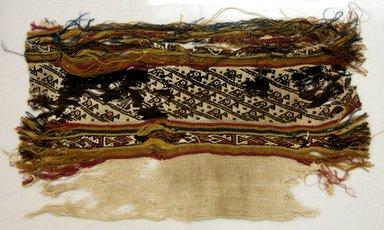 Chimú (probably). <em>Loincloth, Fragment</em>, 1000-1700. Cotton, camelid fiber, 9 1/16 × 15 9/16 in. (23 × 39.5 cm). Brooklyn Museum, Gift of Adelaide Goan, 64.114.192 (Photo: Brooklyn Museum, CUR.64.114.192.jpg)