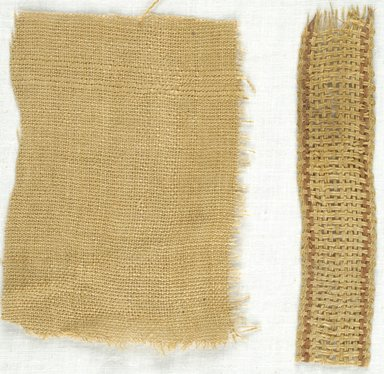 Coptic. <em>Plain Weave Fragment, Basket Weave Fragment</em>, 5th-7th century C.E. Linen, 64.114.241a: 3 1/4 × 4 1/4 in. (8.3 × 10.8 cm). Brooklyn Museum, Gift of Adelaide Goan, 64.114.241 (Photo: Brooklyn Museum (in collaboration with Index of Christian Art, Princeton University), CUR.64.114.241_ICA.jpg)