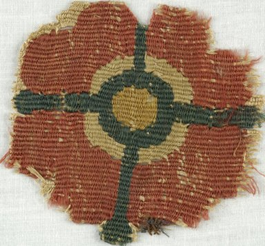 Coptic. <em>Rosette Fragment</em>, 5th-7th century C.E. Flax, wool, 3 1/2 x 3 3/4 in. (8.9 x 9.5 cm). Brooklyn Museum, Gift of Adelaide Goan, 64.114.251 (Photo: Brooklyn Museum (in collaboration with Index of Christian Art, Princeton University), CUR.64.114.251_ICA.jpg)