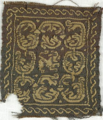 Coptic. <em>Square Fragment with Animal and Botanical Decoration</em>, 5th-7th century C.E. Wool, 3 1/2 x 4 in. (8.9 x 10.2 cm). Brooklyn Museum, Gift of Adelaide Goan, 64.114.252 (Photo: Brooklyn Museum (in collaboration with Index of Christian Art, Princeton University), CUR.64.114.252_ICA.jpg)