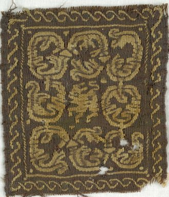 Coptic. <em>Square Fragment with Animal and Botanical Decoration</em>, 5th-7th century C.E. Wool, 3 3/4 x 4 1/2 in. (9.5 x 11.4 cm). Brooklyn Museum, Gift of Adelaide Goan, 64.114.253 (Photo: Brooklyn Museum (in collaboration with Index of Christian Art, Princeton University), CUR.64.114.253_ICA.jpg)