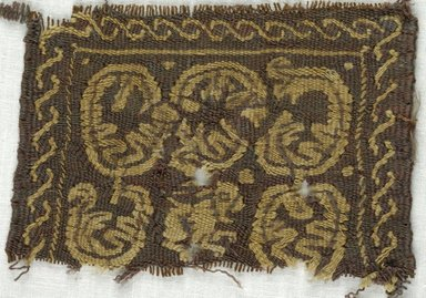 Coptic. <em>Square Fragment with Animal and Botanical Decoration</em>, 5th-7th century C.E. Wool, 3 1/4 x 4 1/4 in. (8.3 x 10.8 cm). Brooklyn Museum, Gift of Adelaide Goan, 64.114.254 (Photo: Brooklyn Museum (in collaboration with Index of Christian Art, Princeton University), CUR.64.114.254_ICA.jpg)