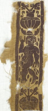 Coptic. <em>Fragment with Figural and Potted Botanical Decoration</em>, 5th-7th century C.E. Flax, wool, 4 1/4 x 8 1/2 in. (10.8 x 21.6 cm). Brooklyn Museum, Gift of Adelaide Goan, 64.114.256 (Photo: Brooklyn Museum (in collaboration with Index of Christian Art, Princeton University), CUR.64.114.256_ICA.jpg)