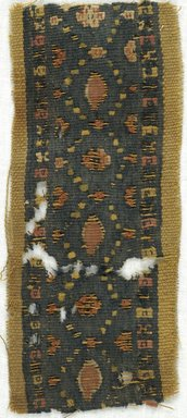 Coptic. <em>2 Band Fragments with Botanical and Geometric Decoration</em>, 5th-7th century C.E. Wool, 2 3/8 x 5 3/8 in. (6 x 13.7 cm). Brooklyn Museum, Gift of Adelaide Goan, 64.114.270a-b (Photo: Brooklyn Museum (in collaboration with Index of Christian Art, Princeton University), CUR.64.114.270A_ICA.jpg)