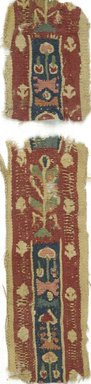 Coptic. <em>2 Band Fragments with Botanical Decoration</em>, 5th-7th century C.E. Linen, wool, Combined measurements: 1 3/4 x 9 3/4 in. (4.4 x 24.8 cm). Brooklyn Museum, Gift of Adelaide Goan, 64.114.271a-b (Photo: Brooklyn Museum (in collaboration with Index of Christian Art, Princeton University), CUR.64.114.271AB_ICA.jpg)