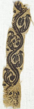 Coptic. <em>Band Fragment with Botanical Decoration</em>, 5th-7th century C.E. Flax, wool, 2 x 6 3/4 in. (5.1 x 17.1 cm). Brooklyn Museum, Gift of Adelaide Goan, 64.114.273 (Photo: Brooklyn Museum (in collaboration with Index of Christian Art, Princeton University), CUR.64.114.273_ICA.jpg)