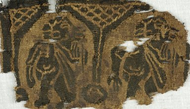 Coptic. <em>Fragment with Figural and Architectural Decoration</em>, 5th-7th century C.E. Flax, wool, 3 1/8 x 4 3/4 in. (8 x 12 cm). Brooklyn Museum, Gift of Adelaide Goan, 64.114.275 (Photo: Brooklyn Museum (in collaboration with Index of Christian Art, Princeton University), CUR.64.114.275_ICA.jpg)