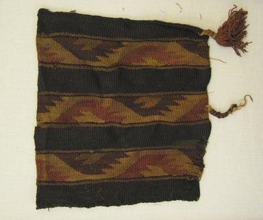 Possibly Nazca-Wari. <em>Bag</em>, 1000-1532. Camelid fiber, Including tassels: 12 × 9 in. (30.5 × 22.9 cm). Brooklyn Museum, Gift of Adelaide Goan, 64.114.47 (Photo: Brooklyn Museum, CUR.64.114.47.jpg)