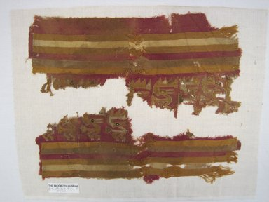 Chimú. <em>Textile Fragments, undetermined</em>, 1000-1400. Cotton, camelid fiber, A: 6 1/2 x 14 3/16in. (16.5 x 36cm). Brooklyn Museum, Gift of Adelaide Goan, 64.114.58a-b (Photo: Brooklyn Museum, CUR.64.114.58a-b.jpg)