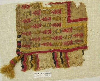 Chimú. <em>Mantle, Fragment</em>, 1000-1532. Cotton, camelid fiber, 8 1/4 × 8 3/4 in. (21 × 22.2 cm). Brooklyn Museum, Gift of Adelaide Goan, 64.114.67 (Photo: Brooklyn Museum, CUR.64.114.67.jpg)