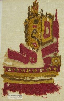Chimú. <em>Mantle, Fragment or Hanging, Fragment</em>, 1000-1532. Cotton, camelid fiber, 13 5/8 × 8 1/4 in. (34.6 × 21 cm). Brooklyn Museum, Gift of Adelaide Goan, 64.114.68 (Photo: Brooklyn Museum, CUR.64.114.68.jpg)