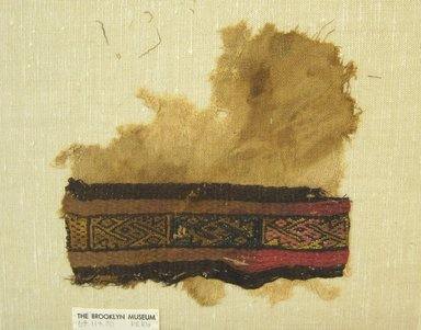 Chimú. <em>Textile Fragment, undetermined</em>, 1000-1532. Cotton, camelid fiber, 7 1/4 × 7 in. (18.4 × 17.8 cm). Brooklyn Museum, Gift of Adelaide Goan, 64.114.70 (Photo: Brooklyn Museum, CUR.64.114.70.jpg)