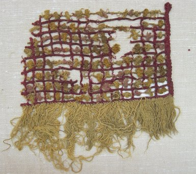 Chancay. <em>Textile Fragment, undetermined</em>, 1000-1532. Cotton, camelid fiber, Including fringe: 7 1/2 × 6 1/2 in. (19.1 × 16.5 cm). Brooklyn Museum, Gift of Adelaide Goan, 64.114.73 (Photo: Brooklyn Museum, CUR.64.114.73.jpg)