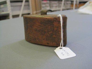 American. <em>Snuff Box with Lid</em>. Wood, leather, 1 3/4 x 1 1/4 x 3 in. (4.4 x 3.2 x 7.6 cm). Brooklyn Museum, Gift of Anna V. Odasz, 64.129.1a-b. Creative Commons-BY (Photo: Brooklyn Museum, CUR.64.129.1a-b_threequarter.jpg)
