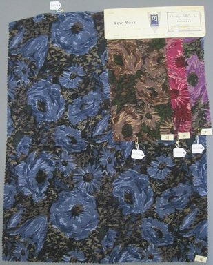 Onondaga Silk Company, Inc. (1925-1981). <em>Textile Swatches</em>, 1948-1959. cotton; wool, largest component (a): 22 x 18 in. (55.9 x 45.7 cm). Brooklyn Museum, Gift of the Onondaga Silk Company, 64.130.121a-d (Photo: Brooklyn Museum, CUR.64.130.121a-d.jpg)