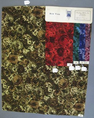 Onondaga Silk Company, Inc. (1925-1981). <em>Textile Swatches</em>, 1948-1959. cotton; wool, largest component (a): 21 x 17 in. (53.3 x 43.2 cm). Brooklyn Museum, Gift of the Onondaga Silk Company, 64.130.124a-e (Photo: Brooklyn Museum, CUR.64.130.124a-e.jpg)