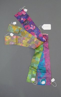Onondaga Silk Company, Inc. (1925-1981). <em>Textile Swatches</em>, 1948-1959. Silk, a-f: 15 x 3 1/4 in. (38.1 x 8.3 cm). Brooklyn Museum, Gift of the Onondaga Silk Company, 64.130.187a-f (Photo: Brooklyn Museum, CUR.64.130.187a-f.jpg)