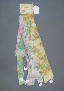 Onondaga Silk Company, Inc. (1925-1981). <em>Textile Swatches</em>, 1948-1959. Silk, a-e: 25 x 3 1/2 in. (63.5 x 8.9 cm). Brooklyn Museum, Gift of the Onondaga Silk Company, 64.130.193a-e (Photo: Brooklyn Museum, CUR.64.130.193a-e.jpg)