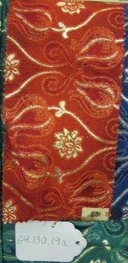 Onondaga Silk Company, Inc. (1925-1981). <em>Textile Swatches</em>, 1948-1959. 81%  silk; 19% metal, (a) - (c): 8 1/2 x 4 1/4 in. (21.6 x 10.8 cm). Brooklyn Museum, Gift of the Onondaga Silk Company, 64.130.19a-d (Photo: Brooklyn Museum, CUR.64.130.19a.jpg)