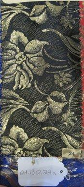 Onondaga Silk Company, Inc. (1925-1981). <em>Textile Swatches</em>, 1948-1959. silk; metal, (a) - (e): 8 1/2 x 4 1/2 in. (21.6 x 11.4 cm). Brooklyn Museum, Gift of the Onondaga Silk Company, 64.130.24a-f (Photo: Brooklyn Museum, CUR.64.130.24a.jpg)