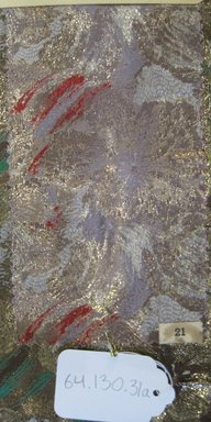 Onondaga Silk Company, Inc. (1925-1981). <em>Textile Swatches</em>, 1948-1959. 72% silk; 28% metal, (a): 8 x 4 1/2 in. (20.3 x 11.4 cm). Brooklyn Museum, Gift of the Onondaga Silk Company, 64.130.31a-b (Photo: Brooklyn Museum, CUR.64.130.31a.jpg)