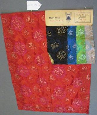 Onondaga Silk Company, Inc. (1925-1981). <em>Textile Swatches</em>, 1948-1959. 72% silk; 28% metal, (a) - (d): 8 x 4 in. (20.3 x 10.2 cm). Brooklyn Museum, Gift of the Onondaga Silk Company, 64.130.34a-e (Photo: Brooklyn Museum, CUR.64.130.34e.jpg)