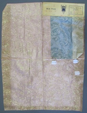 Onondaga Silk Company, Inc. (1925-1981). <em>Textile Swatches</em>, 1948-1959. 72% silk; 28% metal, largest component (a): 24 x 18 in. (61 x 45.7 cm). Brooklyn Museum, Gift of the Onondaga Silk Company, 64.130.50a-c (Photo: Brooklyn Museum, CUR.64.130.50a-c.jpg)