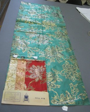Onondaga Silk Company, Inc. (1925-1981). <em>Textile Swatches</em>, 1948-1959. silk; metal, largest component (a): 47 x 17 1/2 in. (119.4 x 44.5 cm). Brooklyn Museum, Gift of the Onondaga Silk Company, 64.130.57a-d (Photo: Brooklyn Museum, CUR.64.130.57a-e.jpg)