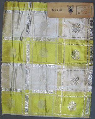 Onondaga Silk Company, Inc. (1925-1981). <em>Textile Swatches</em>, 1948-1959. 81% silk; 19% metal, 23 x 18 in. (58.4 x 45.7 cm). Brooklyn Museum, Gift of the Onondaga Silk Company, 64.130.61 (Photo: Brooklyn Museum, CUR.64.130.61.jpg)