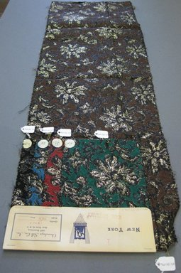 Onondaga Silk Company, Inc. (1925-1981). <em>Textile Swatches</em>, 1948-1959. silk; metal, largest component (a): 34 x 11 in. (86.4 x 27.9 cm). Brooklyn Museum, Gift of the Onondaga Silk Company, 64.130.69a-e (Photo: Brooklyn Museum, CUR.64.130.69a-e.jpg)