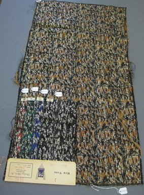 Onondaga Silk Company, Inc. (1925-1981). <em>Textile Swatches</em>, 1948-1959. 42% nylon; 31% rayon; 19% acetate; 8% metal, largest component (a): 35 x 18 in. (88.9 x 45.7 cm). Brooklyn Museum, Gift of the Onondaga Silk Company, 64.130.70a-e (Photo: Brooklyn Museum, CUR.64.130.70a-e.jpg)