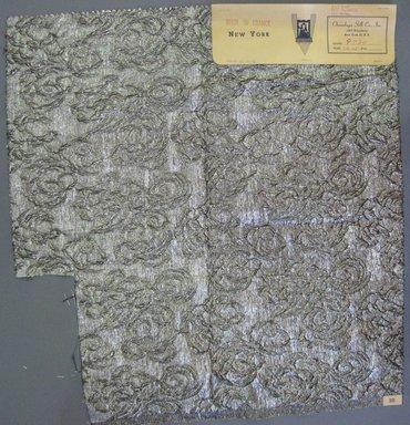 Onondaga Silk Company, Inc. (1925-1981). <em>Textile Swatches</em>, 1948-1959. 52% silk; 32% polyamide; 16% metal, 21 x 19 in. (53.3 x 48.3 cm). Brooklyn Museum, Gift of the Onondaga Silk Company, 64.130.76 (Photo: Brooklyn Museum, CUR.64.130.76.jpg)