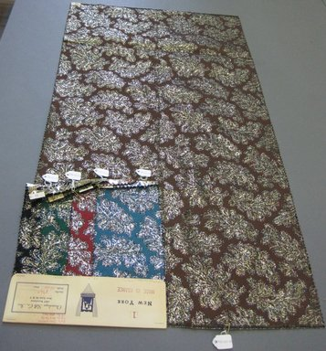 Onondaga Silk Company, Inc. (1925-1981). <em>Textile Swatches</em>, 1948-1959. 56% polyamide; 25% acetate; 19% metal, largest component (a): 35 x 18 in. (88.9 x 45.7 cm). Brooklyn Museum, Gift of the Onondaga Silk Company, 64.130.80a-e (Photo: Brooklyn Museum, CUR.64.130.80a-e.jpg)