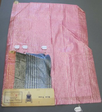 Onondaga Silk Company, Inc. (1925-1981). <em>Textile Swatches</em>, 1948-1959. 81% silk, 19% metal, largest component (a): 23 1/2 x 17 in. (59.7 x 43.2 cm). Brooklyn Museum, Gift of the Onondaga Silk Company, 64.130.83a-d (Photo: Brooklyn Museum, CUR.64.130.83a-d.jpg)